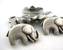 GOOD LUCK ELEPHANT Metal Button, Qty 4, Antique Silver Metal Buttons, 20mm Great for Leather Wrap Clasps and Clothing, Elephant Button