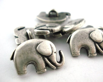 GOOD LUCK ELEPHANT Metal Buttons, Qty 4, Antique Silver Metal Button, 20mm Great for Leather Wrap Clasps and Clothing, Elephant Button