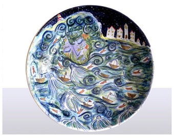 Ceramic large Fruit bowl with Goddess of the Sea design, hand painted & illustrative