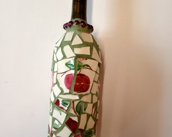 Mosaic Wine Bottle Candle
