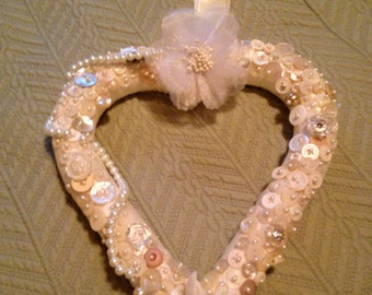 Wedding Heart Wreath Covered with Buttons