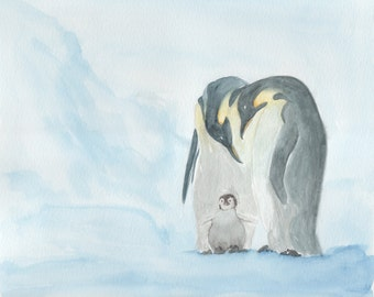 Penguin Family Watercolor Giclee Print
