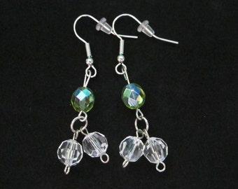Silver & Green Dangle Earrings