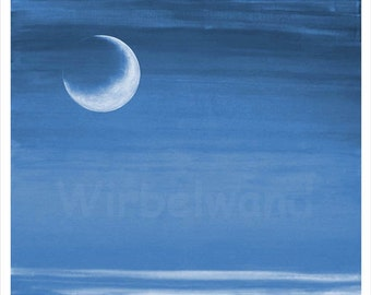 Print of an acrylic painting - Fiery Moon (28 x 24 inch) Night blue colour variation