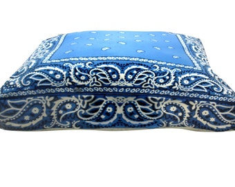 Bandana blue rectangle dog bed. Dogzzzz tired of the same old plaids and stripes brings the rugged outdoors in makes it fun.Free shipping!
