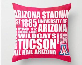 University of Arizona Wildcats Typography Pillow