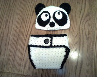 Infant Panda Hat and diaper cover