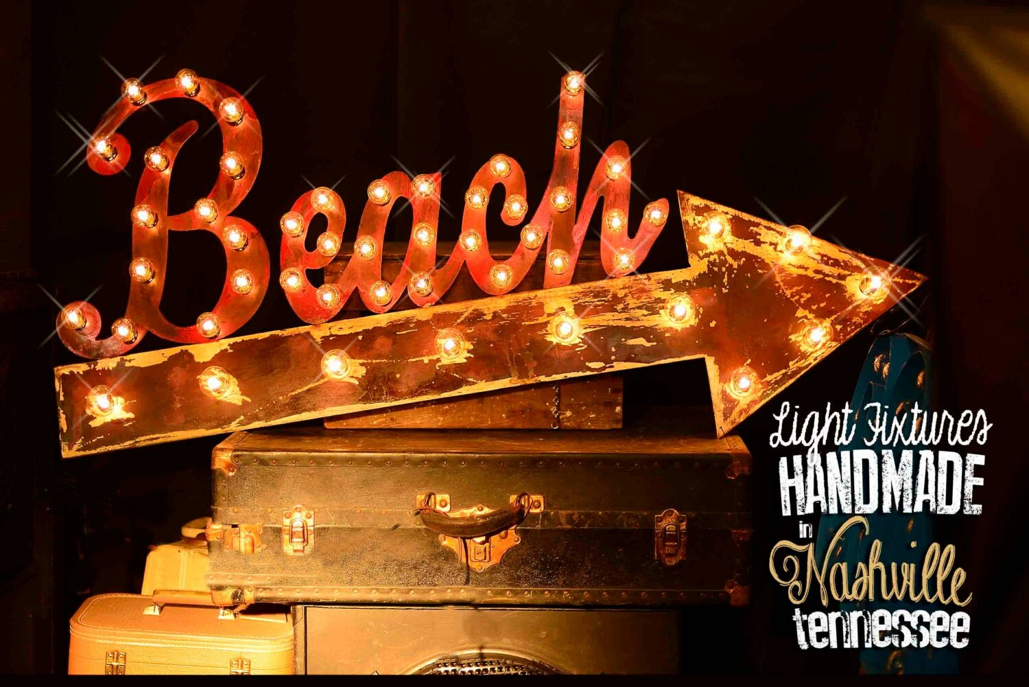Beach Marquee Sign Lighted Metal MARQUEE SIGN by TLNFunctionalArt