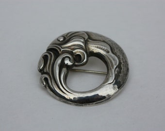 Georg Jensen Sterling Fish Brooch number 10 Denmark 1910-1925