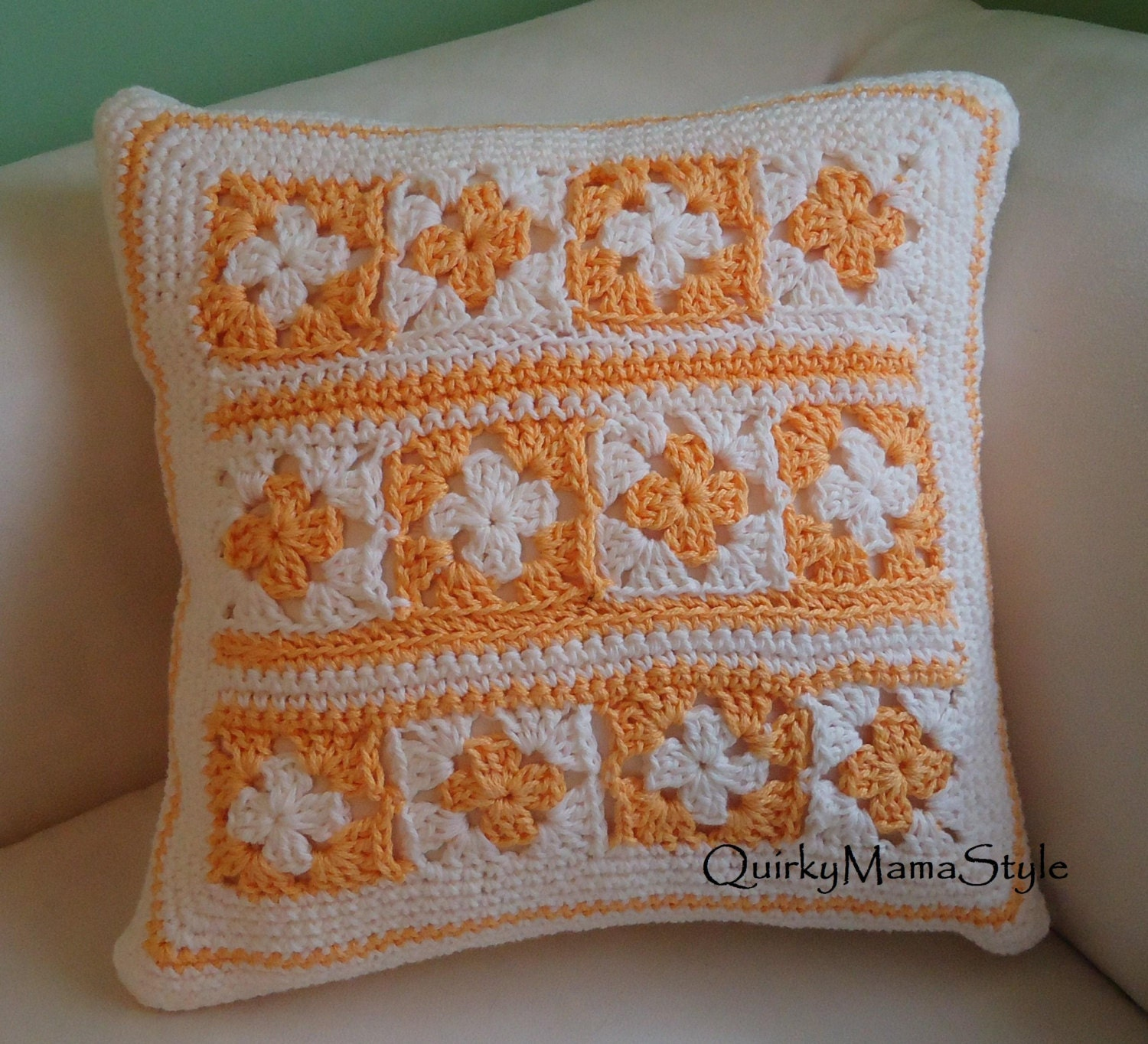 Crochet Pattern Granny Square Pillows : Pansy Granny Square Crochet Pillow Cover by QuirkyMamaStyle