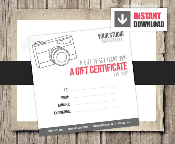 Gift Card Gift Certificate Template for Photographers Camera
