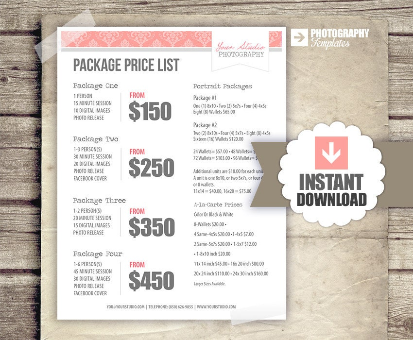 Photography Price List Pricing List for Photographers