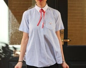 Vintage Babydoll top, Stripes with Bird and Red Ribbon.