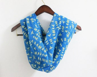 Bird Scarf, Blue Bird on Tree Branch Infinity Scarf, Spring Scarf, Summer Scarf, Loop Scarf, Womens Scarves, Scarf Women, Mom Gifts, For Her