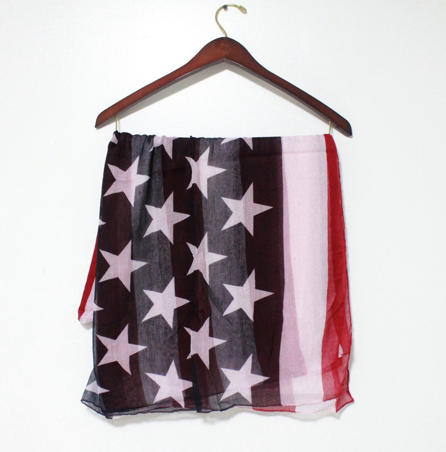 on sale vintage american flag infinity scarf soft by litopinkowl. Black Bedroom Furniture Sets. Home Design Ideas