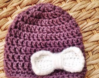 Crochet hat in Dusty Purple