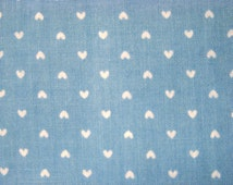 Vintage White Hearts on Medium Blue Fabric by the yard - 36 inches long  x 44.5 inches wide