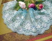 Lace Trim Light Blue Gauze White Flower Wedding Trim DIY Handmade 3.94'' width 1 yards