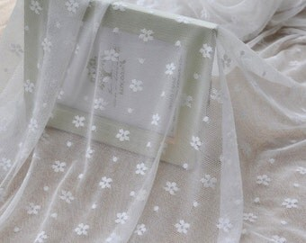 "Lace Fabric White Daisy Gauze Soft Wedding Fabric DIY Handmade 59"" width 1 yard"