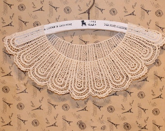 Lace Applique Beige Cotton Collar Altered Clothing Sewing Embellishing 1pc