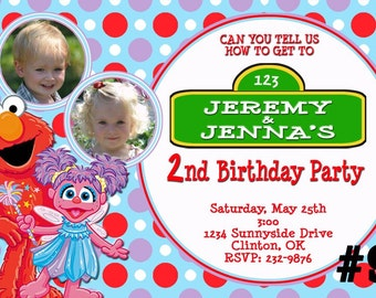 Abby Cadabby and Elmo TWINS Invitation with Photo Sesame Street  Printable Birthday Party Digital File