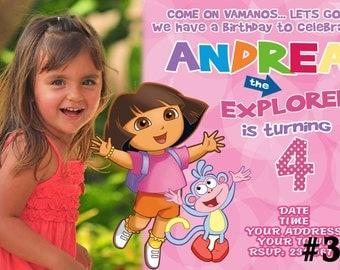 Dora the Explorer Birthday Party Invitation  Digital File You Print  Birthday Party invite with Photo