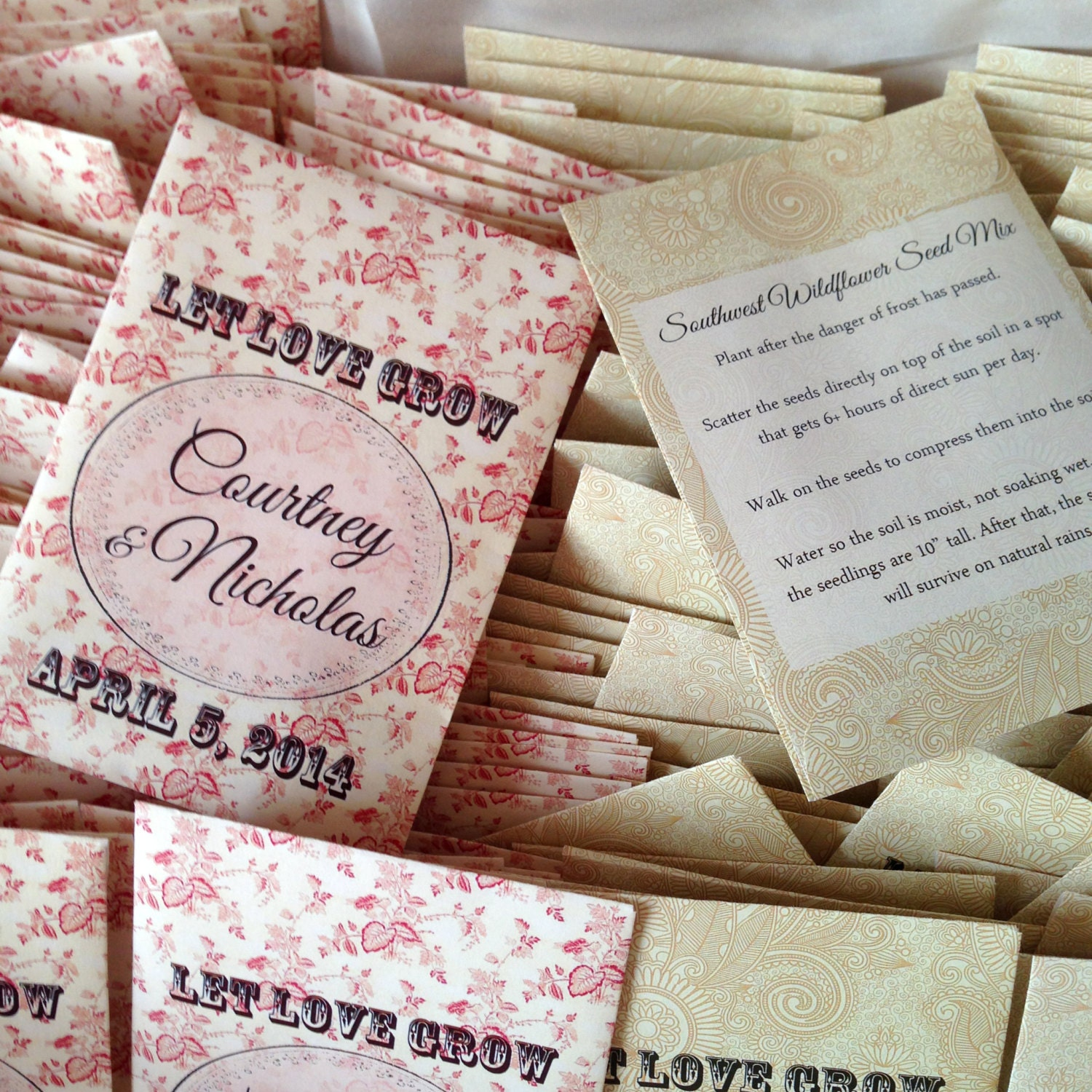 100 Wildflower Seed Packet Favors Let Love Grow By DIYIDo