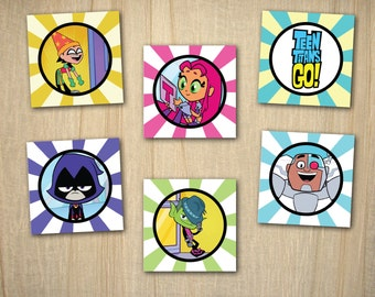 "Teen Titans Go Printable 2"" Party Circles / Cupcake Toppers INSTANT DOWNLOAD"