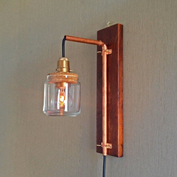 Hanging Wall Lamp: Hanging Recycled Wooden Copper Pipe Wall Lamp Modern By