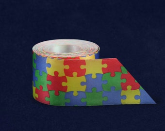 Satin Autism Puzzle Piece Ribbon By The Yard (RIB-2P)