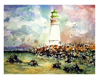 Lighthouse Watercolour Print. From an Original Painting by Artist.T J Cleary.  Heavy Art Paper