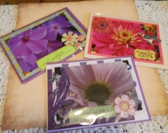 Three Greeting Cards With Original Photography Specializing in Flowers With Stickers and Messages. Pretty Enough to Be Framed.