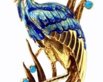 Blue Heron Enameled Brooch