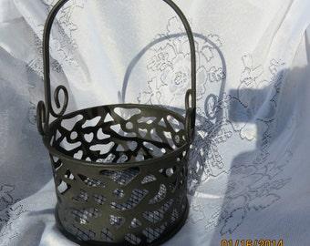 Vintage Black Metal Industrial Basket