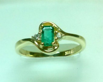 NEW -----  Emerald Diamond Ring in 14 K Yellow Gold  ----- ON Sale