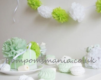 "Gorgeous tissue paper pom poms garland (10 units of 4.5"" length mini pom poms). Star of your party!"