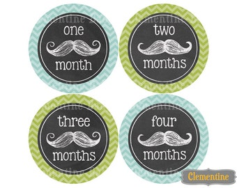Monthly Baby Stickers, chalk mustache  baby month stickers, monthly milestone stickers - chalk mustache