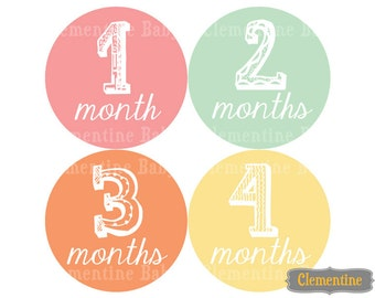 Monthly Baby Stickers, sketch baby month stickers, monthly baby stickers - sketch girl