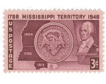 10 Unused Vintage Postage Stamps - 1948 3c Mississippi Territory - Item No. 955
