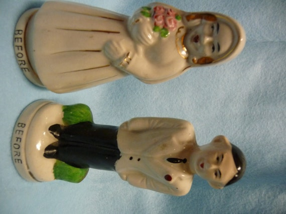 Vintage Retro Bride Groom Salt n Pepper Shakers Wedding Gift Funny Rockabilly Cake Topper