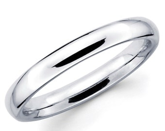 10K Solid White Gold 3mm Plain Wedding Band Ring