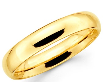 10K Solid Yellow Gold 4mm Plain Wedding Band Ring