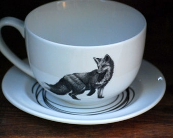 large latte cup and Saucer  fox tea cup