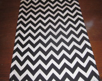 Black Chevron Table Runner, Halloween,  Baby Shower , Wedding, Graduation, Birthday