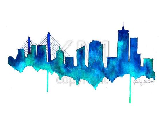 Line Art Watercolor : Boston skyline print watercolour wall art modern minimalist