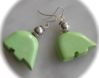 Lime Green Bear Fetish Earrings