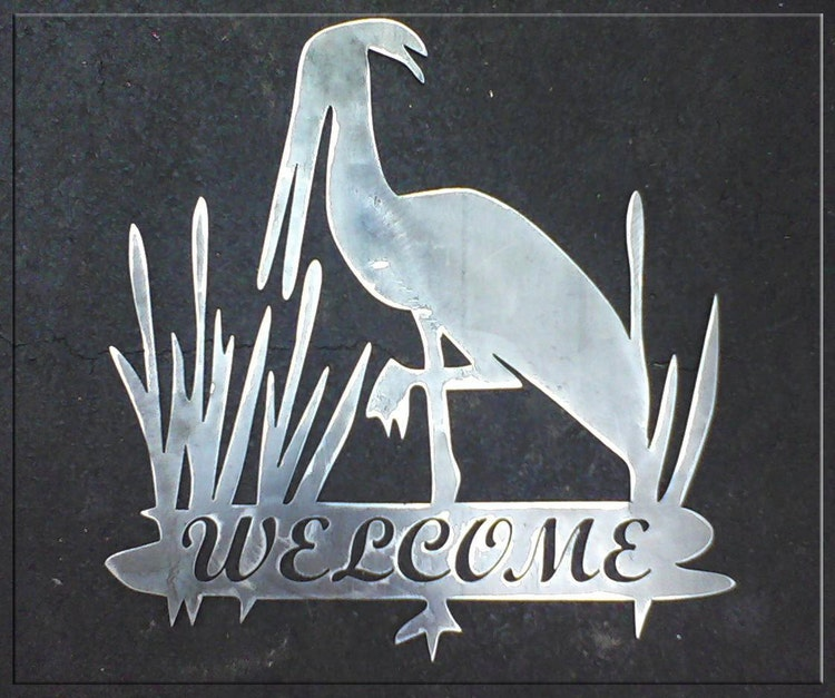 Egret Metal Art Welcome Sign With or Without by GunnyzMetalArt