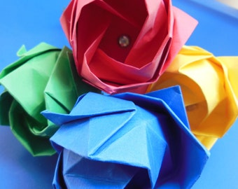 Single Origami Rose (Cardstock) - Origami Flowers - Paper Rose - First Anniversary - Paper Anniversary - Create Your Own Bouquet - Roses
