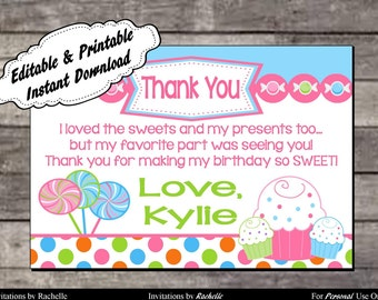Candy Thank You Card Sweet Shop Birthday Party - Editable Printable Digital File with Instant Download