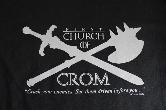 Conan the Barbarian T Shirt, Original Conan Movie, Church of Crom, funny tee, humor, geek